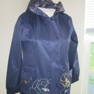 NAVY BLUE COAT/XXL/WITH EMBROIDERY/POCKETS/HOOD